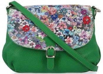 Vittoria Gotti Módní Kožená Kabelka Listonoška Made in Italy květiny Dračí Zelená