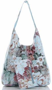 Módní Kožená Kabelka Shopperbag Vittoria Gotti květinový vzor Světle Modrá