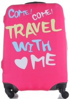 Obal na kufr Snowball M size Travel with me růžová