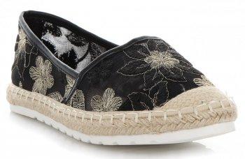 Modní Dámské Espadrilky vzor v květech Ideal Shoes Černé