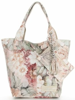 Vittoria Gotti Módní Kožená Kabelka Shopperbag XL květinový vzor Béžová