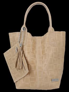 Módní Kožené Dámské Kabelky Shopper Bag XL Vittoria Gotti Béžová
