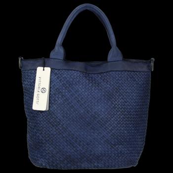 Vittoria Gotti Vintage Shopper Kožená Kabelka Premium Tmavě Modrá