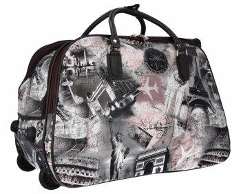Cestovní taška na kolečkách s výsuvnou rukojetí Or&Mi Město Multicolor Černá/Práškově Růžová
