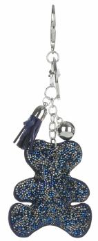 Přívěšek ke kabelce Módní medvídek s krystalky  modrá