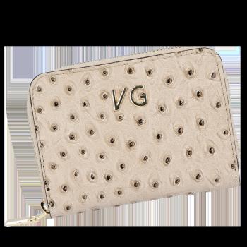 Dámská Kožená Peněženka pštrosí vzor Vittoria Gotti Made in Italy Zemitá