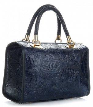 Elegantní kožený kufřík Tmavě modrá