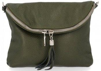 Dámská kožená kabelka listonoška Zelená