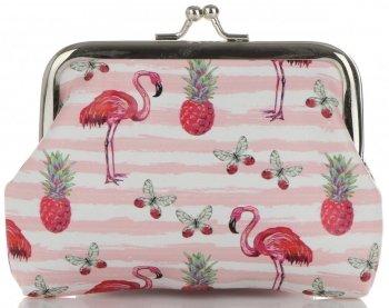 Módní Dámské Peněženky David Jones Multicolor Flamingos & Růžovo-bílé pruhy
