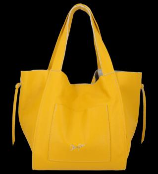 Vittoria Gotti Italské Kožené Dámské Kabelky Shopper Bag Žlutá