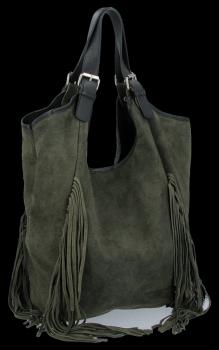 Módní Italské Kožené Dámské Kabelky Shopper Bag Boho Style Khaki