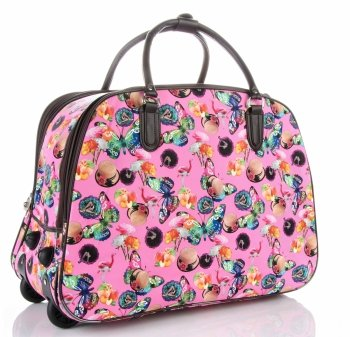 Cestovní taška na kolečkách s výsuvnou rukojetí Or&Mi Flaming&Hat Růžová