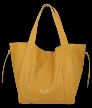 Vittoria Gotti Italské Kožené Dámské Kabelky Shopper Bag Hořčičná