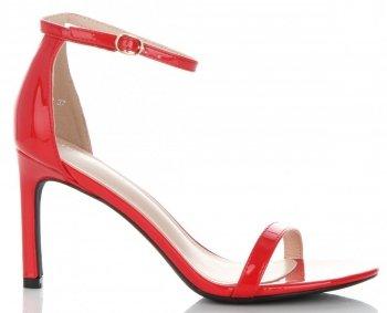 Modní Lakované Dámské Sandály na podpatku Ideal Shoes Červené
