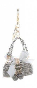 Přívěšek ke kabelce  Elegantní kabelka s mašličkou a zirkony šedá