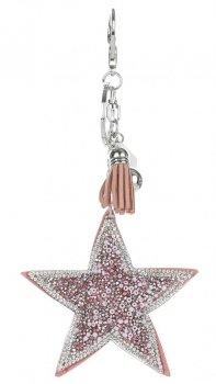 Přívěšek ke kabelce Stars s krystalky a korálky růžová