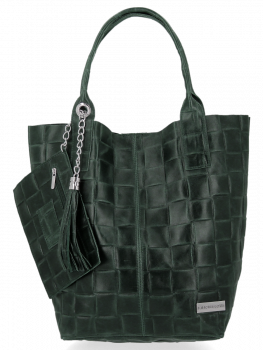 Módní Kožené Dámské Kabelky Shopper Bag XL Vittoria Gotti Lahvově Zelená