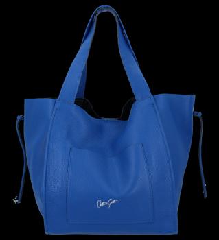 Vittoria Gotti Italské Kožené Dámské Kabelky Shopper Bag Kobaltová