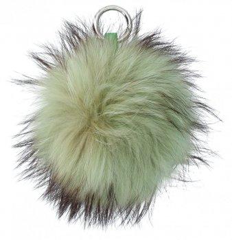 Přívěšek ke kabelce Pompon z přírodního vlasu mýval Zelený