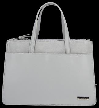 VITTORIA GOTTI Made in Italy Elegantní Dámská kabelka kožená kufřík Světle šedá