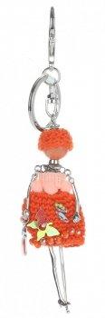 Přívěšek ke kabelce Silver Girl v šatech z nitek oranžová