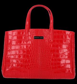 Kožené Kabelky kufřík VITTORIA GOTTI Made in Italy s motivem aligátora Červená