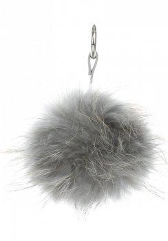 Přívěšek ke kabelce Pompon z přírodního vlasu mýval šedý