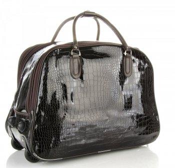 Cestovní taška na kolečkách s výsuvnou rukojetí Or&Mi Aligátor Čokoládová