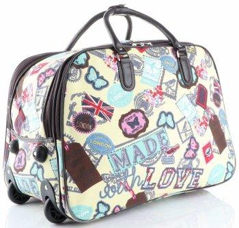 Cestovní taška na kolečkách s výsuvnou rukojetí v motýlech Or&Mi multicolor žlutá
