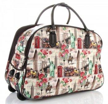 Cestovní taška na kolečkách s výsuvnou rukojetí Or&Mi New York/London Červená