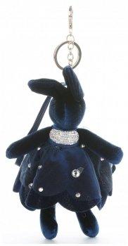 Přívěšek ke kabelce Sametový králík v sukýnce  Tmavě modrá