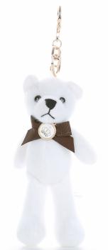 Přívěšek ke kabelce Elegantní medvídek s mašličkou bílý