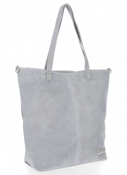 Univerzální Kožené Dámské Kabelky Shopper Bag Vittoria Gotti Světle Šedá