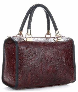 Elegantní kožený kufřík bordová