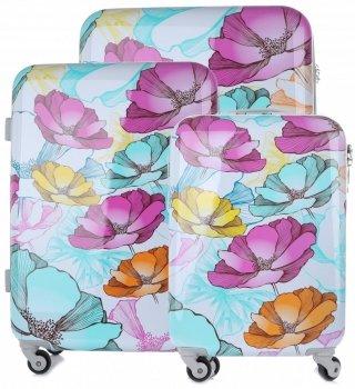Kufry vzor v květech renomované firmy Snowball Sada 3v1 Multicolor - bílé
