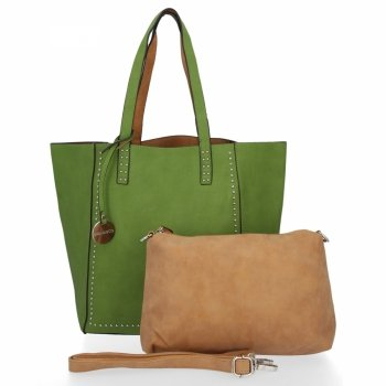 Diana&Co Módní Dámské Kabelky Shopper XXL a Listonoška Zelená