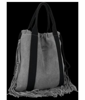 Vittoria Gotti Italské Kožené Dámské Kabelky Shopper Bag Boho Style Šedá