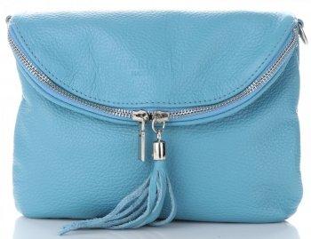 Dámská kožená kabelka listonoška Modrá