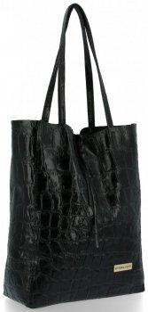 Vittoria Gotti Kožená Italská Kabelka Shopperbag motiv želvy XL Černá
