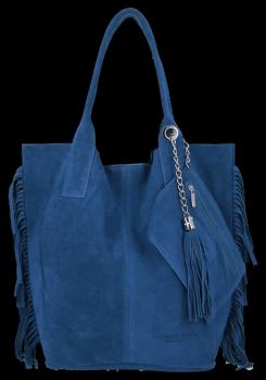 Módní Italské Kožené Kabelky Shopper Bag Boho Style Vittoria Gotti Džínová