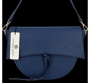 Elegantní Kožená Kabelka Listonoška Vittoria Gotti Made in Italy Tmavě Modrá
