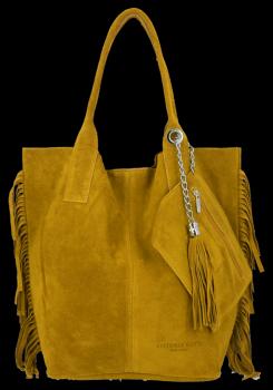 Módní Italské Kožené Kabelky Shopper Bag Boho Style Vittoria Gotti Hořčičná