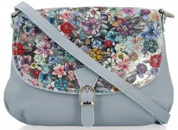 Vittoria Gotti Módní Kožená Kabelka Listonoška Made in Italy květiny Světle Modrá