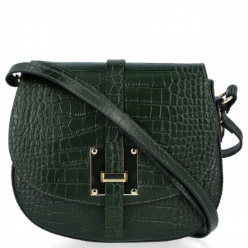 Elegantní Kožená Kabelka Listonoška s motivem aligátora Vittoria Gotti Lahvově zelená