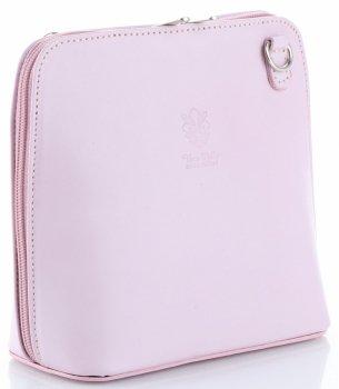 Malá kožená kabelka listonoška Vera Pelle prášková růžová
