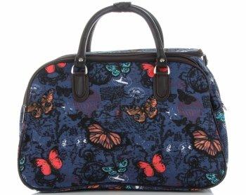 Průměrná cestovní taška kufřík Or&Mi vzor v motýlech Multicolor - Modrá
