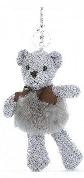 Přívěšek ke kabelce Plyšový medvídek s přírodním králíkem světle šedá