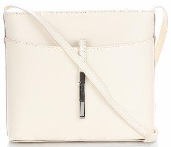Kožená kabelka listonoška z velmi dobré kůže bílá