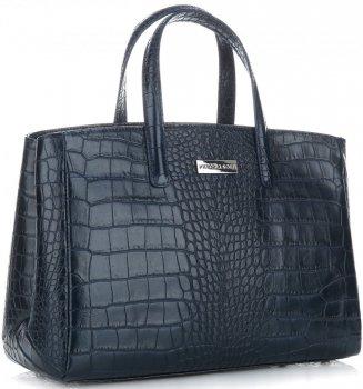Kožené Kabelky kufřík VITTORIA GOTTI Made in Italy s motivem aligátora  Tmavě modrá