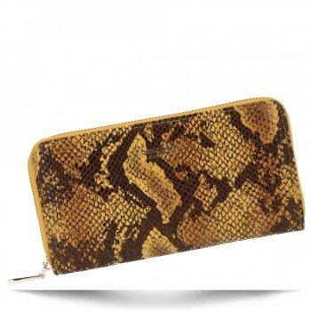 Exkluzivní Dámská Peněženka XL hadí vzor Diana&Co Hořčičná